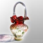 Fenton Floral Scroll Basket