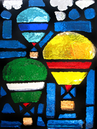 Dalle De Verre stained art Glass Window brick race balloon