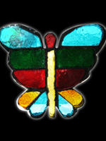 dalle de verre stained art glass iron butterfly