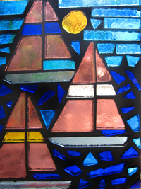 dalle de verre stained art glass sailing race boat
